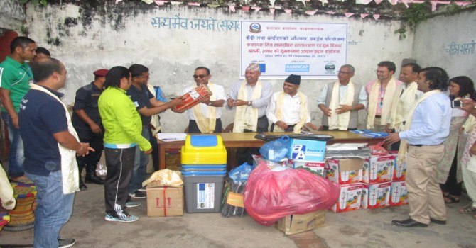 Health Clinic Equipments and Materials, First Aid Medicine, Sports and Entertainment Materials and WASH Materials Handover Inside the Prison Office at Kavrepalanchok under Promoting Human Rights of Detainees and Prisoners in Nepal Project